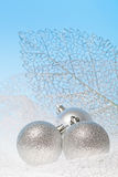 New Year background with glass toys Stock Photo