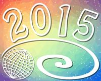 2015 new year background with globe on rainbow triangle patterned area. 2015 new year background with globe and spiral on rainbow triangle patterned area royalty free illustration
