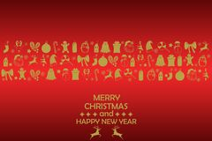New Year 2019 background with gold figures, Christmas toys, candy, Santa, candle on red background. New Year 2019 composition. stock image