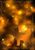 New Year 2018 background. Gold New Year bokeh background with a dog and the number 2018. Concept New Year and Christmas 2018. For greeting cards, flyers and Stock Image