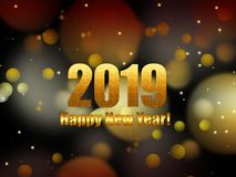 New Year background 2019 with golden bokeh royalty free stock images