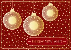 A New year background with golden christmas balls, tassel, star light and a garland.   Royalty Free Stock Photography