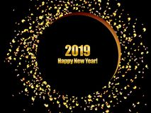 New Year background 2019 with golden confetti stock photography