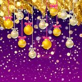 New Year background with fir branches and snowflakes. New Year background with golden fir branches confetti and Christmas balls, snowflakes on lilac background Royalty Free Stock Photos