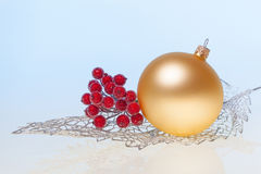 New Year background with golden glass toy Royalty Free Stock Photography