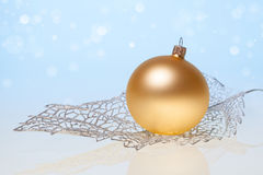 New Year background with golden glass toy Royalty Free Stock Images