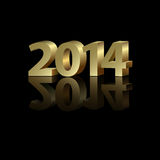 2014 New Year background. 2014 New Year golden number on the black background Stock Image