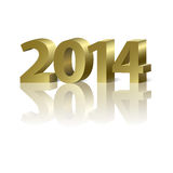 2014 New Year background. 2014 New Year golden number on the white background Royalty Free Stock Photography
