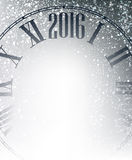 2016 New Year background. 2016 New Year gray background with clock. Vector illustration Royalty Free Stock Photo