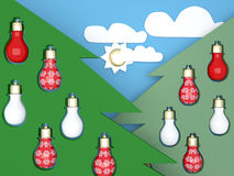 New year background. Green Christmas trees. New year background. Green Christmas trees with lightbulbs Stock Photography