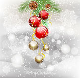 New Year background with green fir branches stock illustration