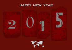 New Year  background. New Year background with grunge date and map of the world Stock Photos