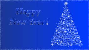 New Year background. Happy New Year background with abstract Christmas tree isolated on blue vector illustration