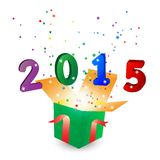 New Year 2015 background. Happy new year 2015 background with gift box Royalty Free Stock Photography