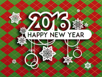 New year background. Happy new year background with holiday decoration. Design for card, banner, invitation, leaflet and so on stock illustration