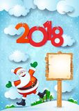 New Year background with happy Santa, sign and text Stock Image