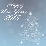 New Year background. Happy new year background with snowflakes and New Year tree stock illustration