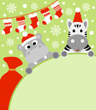 New Year background with hippopotamus and zebra Stock Photo