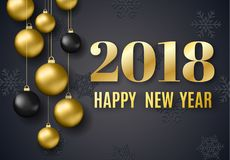 2018 New Year background. For holiday greeting card, invitation, party flyer, poster, banner. Gold and black ball on black background Royalty Free Stock Image
