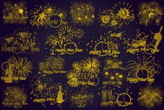 New Year. Violet. Symbol. Background. Fireworks stock illustration