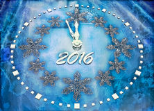 New Year background with ice clock. Stock Image