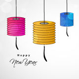 New Year background. Illustration of hanging shining lamps for new year Stock Images