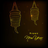 New Year background. Illustration of hanging shining lamps for new year Royalty Free Stock Photos