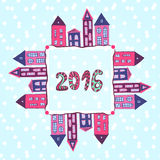 New year background. 2016 lettering. Vector houses frame, banner Royalty Free Stock Images