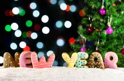 New Year background 2018, lights garlands, bokeh Royalty Free Stock Image
