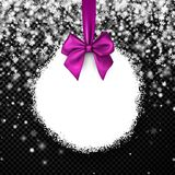Round Christmas background with lilac bow. New Year background with lilac satin bow and snowflakes. Vector illustration Stock Image