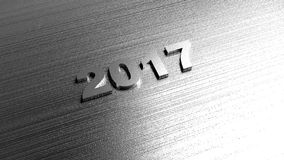 2017 New year background. Metal texture. 3D rendering. Royalty Free Stock Image