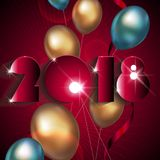 New Year background. With metallic balloons stock illustration