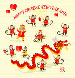 New Year Background with Monkey. New Year card with monkey. Happy Chinese New Year 2016. New Year monkey. Chinese zodiac monkey. Year of monkey 2016. Chinese New Royalty Free Stock Photo