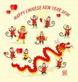 New Year Background with Monkey Royalty Free Stock Photo
