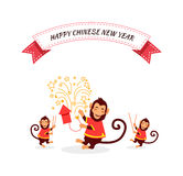 New Year Background with Monkey. New Year card with monkey. Happy Chinese New Year 2016. New Year monkey. Chinese zodiac monkey. Year of monkey 2016. Chinese New Royalty Free Stock Image