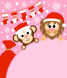 New Year background with monkey and lion Royalty Free Stock Image