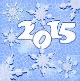 2015 new year background in mosaic design with snowflakes. In blue color Royalty Free Stock Image
