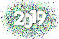 2019 New Year background. With colorfull glitter confetti. Festive premium design template for holiday greeting card royalty free illustration