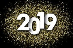 2019 New Year background. With gold glitter confetti. Festive premium design template for holiday greeting card royalty free illustration