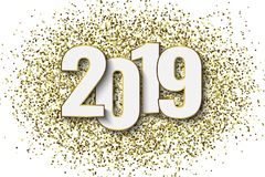 2019 New Year background. With gold glitter confetti. Festive premium design template for holiday greeting card stock illustration