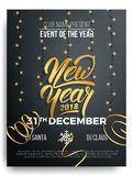 New Year. Background of New Year lettering, christmas lights and curly gold gift ribbons.  Stock Photos