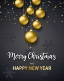 2018 New Year background. 2018 New Year and merry christmas background for holiday greeting card, invitation, party flyer, poster, banner. Gold ball, confetti on Royalty Free Stock Photos