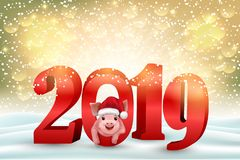 New year background with 2019 numbers and cute pig royalty free stock photos