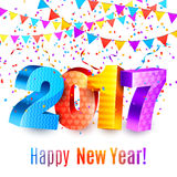 New Year Background. 2017 new year background with numbers, color confetti and garlands Vector Illustration
