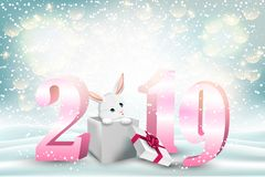 New year background with 2019 numbers and cute bunny stock photo