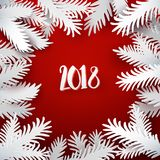 New Year background with paper branches Stock Photos