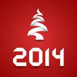 New Year Background. Paper christmas tree and new year 2014 digits Stock Photos