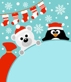 New Year background with penguin and polar bear Stock Photos