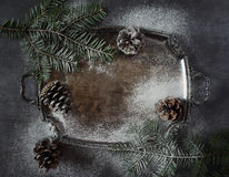 New Year background: pine cones and fir branches on vintage tray Stock Image