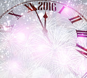 2016 New Year background. R2016 New Year background with clock. Vector paper illustration.r Royalty Free Stock Image
